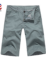 U-Shark Men's Summer Slim Casual&Fashion Grey Blue Solid Color Cotton Shorts Cropped Pants