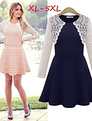 Women's Lace Pink/Black Dresses , Casual/Lace/Cute Round Long Sleeve