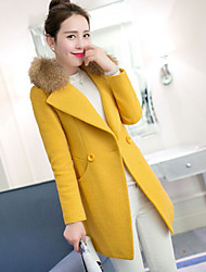 Women's Patchwork Blue / Yellow Coats & Jackets , Casual V-Neck Long Sleeve
