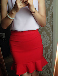 Women's Solid Blue/Red/Black Skirts , Sexy/Bodycon/Casual/Work Knee-length