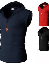Suéters e Moletons ( Algodão Organico / Poliéster ) MEN - Vintage / Casual Assimétrico / Moletom - Sem Mangas