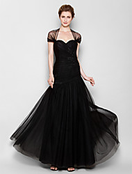 Fit & Flare Queen Anne Floor Length Tulle Mother of the Bride Dress with Appliques Criss Cross by LAN TING BRIDE®