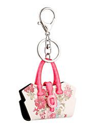 2016 flores de acrílico rosa chave da flor cadeia de mulheres carro saco de jóias bolsa chaveiro titular chave anel de presente por