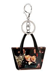 2016 acrilico nero donne auto borsa gioielli pittura portachiavi cartone animato portachiavi titolare portachiavi regalo all'ingrosso