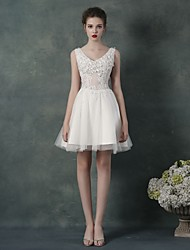 Cocktail Party Dress - Blushing Pink / Ruby / Lilac / White A-line V-neck Knee-length Chiffon / Tulle