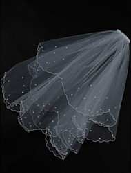 Bridal Wedding Veil Two-tier  White or ivory Elbow Veils Pearl Trim Edge