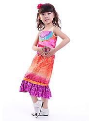 Roupas de Dança para Crianças Vestidos Crianças Actuação Poliéster Plissado 1 Peça Rosa Espetáculo Halloween Vestidos