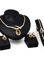 Schmuck 1 Paar Ohrringe 1 Armreif Halsketten Ringe Topas Hochzeit Party Krystall 1 Set Damen Goldfarben Hochzeitsgeschenke