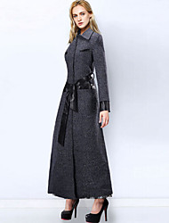 Women's Fashion Woolen Vintage Casual Work Plus Size Thick Maxi Trench Coat