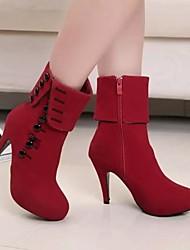 Stiletto - 10-12cm - Damenschuhe - Stiefel ( Leder , Schwarz / Rot )