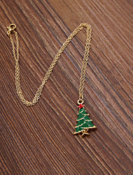 Fashion Women Cute Enamel Christmas Tree Pendant Necklace