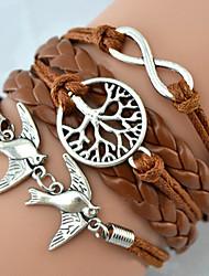 KAILA® Leather Bracelet Fashion Infinity Bracelet Peace Dove Tree of Life Friendship Bracelet Wrap bracelet jewelry Christmas Gifts
