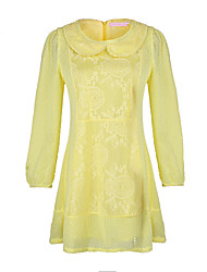 Women's Solid / Lace Pink / Yellow Dress , Vintage / Lace Round Neck Long Sleeve