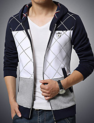 Men's Fashion Plaid Patchwork Hooded Cardigan Sweatshirt