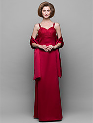 Sheath / Column Mother of the Bride Dress Floor-length Sleeveless Satin with Lace