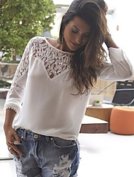 DUO.L Women's Lace White Tops & Blouses , Sexy / Casual / Work Round Long Sleeve