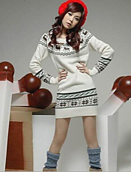 Autumn SD Women's Print / Solid Color White / Gray Sweaters , Bodycon / Casual / Cute / Work Round Long Sleeve