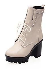 Women's Boots Fall / Winter Comfort / Round Toe Wedding / Outdoor / Dress Chunky Heel Split Joint / Red