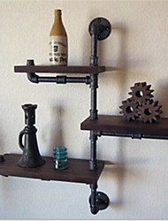 DIY Book Shelves American Iron Wall Industrial Loft-Style Wood Wall Shelf Shelves Retro Water Pipe Rack Bookcase-Z22