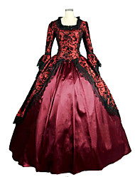 One-Piece/Dress Gothic Lolita Steampunk® / Victorian Cosplay Lolita Dress Red Solid Long Sleeve Long Length Dress For Women Satin / Lace