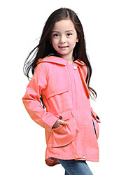 Kid Girl's Spring/Autumn Long Sleeve Pink/Hotpink/Khaki Color Casual Jacket(Polyester) Outwear Wind Coat  for Age 3~7Y