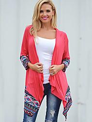 CEN     Women's Patchwork Multi-color Coats & Jackets , Casual Asymmetrical Long Sleeve