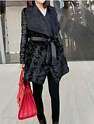 Damen Solide Mantel,Winter Quadratischer Ausschnitt Langarm Schwarz Dick PU
