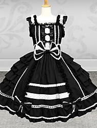 Sweet Short Sleeve Floor-length Red Cotton Gothic Lolita Dress
