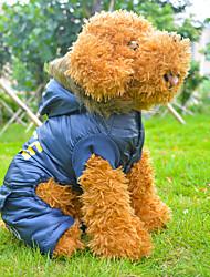 Abrigos para Perros Azul Invierno S / M / L / XL Algodón