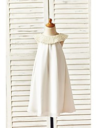 Sheath / Column Knee-length Flower Girl Dress - Chiffon Sleeveless Scoop with