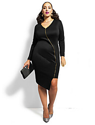 Women's Party/Cocktail Sexy Plus Size Dress,Solid V Neck Asymmetrical Long Sleeve Blue / White / Black Acrylic / Spandex Fall