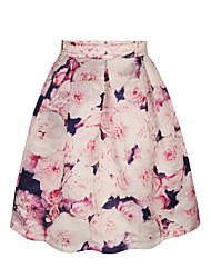 PinkQueen Women's Polyester/Cotton  Pink Flowers Printed  Pleated Skirt