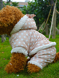 Dog Coat Pink / Beige Dog Clothes Winter Polka Dots