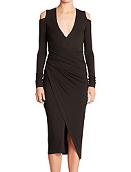 CEN     Women's Solid Color Black Dresses , Sexy / Bodycon / Casual V-Neck Long Sleeve