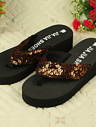Women's Shoes PVC Flat Heel Flip Flops Slippers Outdoor Brown / Yellow / Red / White