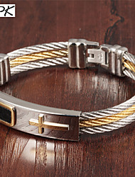 OPK®Multi-layer Stainless Steel Wire Drawing Gold-plated Cross Man Bracelet