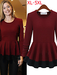 Women's Patchwork Red / Beige Tops & Blouses , Casual Round Long Sleeve