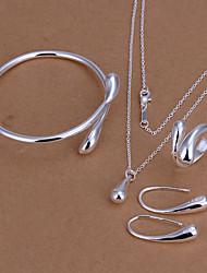 Mulheres Bracelete Brincos Compridos Colar Zircônia Cubica Moda bijuterias Prata Chapeada Caído Para Casamento Diário Casual Presentes de