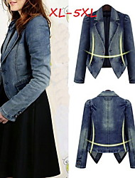 Women's Solid Blue Plus Size Coats & Jackets , Casual Tailored Collar Long Sleeve