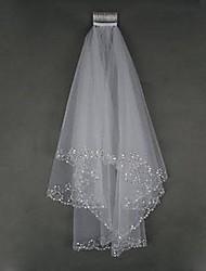 Véus de Noiva Duas Camadas Véu Ponta dos Dedos Borda Enfeitada Tule Marfim Branco / Marfim