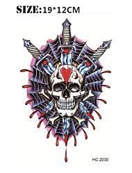 (1pcs) Halloween Temporary Tattoo Waterproof Sexy Armband Tattoo Body Art/Skeleton Vs Sword/Big Fake Tatoo Stickers