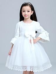 Girl's Cotton / Mesh Dress ¾ Sleeve NEW Lace Tulle TUTU /Flower Girl Dress Wedding Easter Junior Bridesmaid Dress