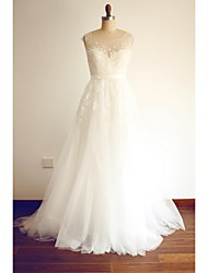 A-line Wedding Dress Sweep / Brush Train Scoop Lace / Tulle with Appliques / Beading