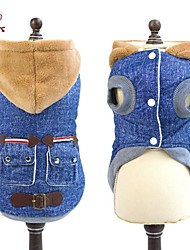 Cat / Dog Coat / Hoodie / Denim Jacket/Jeans Jacket Blue Dog Clothes Winter Jeans Wedding / Cosplay