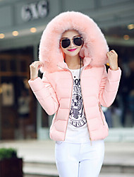 Women's Solid Blue / Pink / White Parka Coat , Casual Hooded Long Sleeve