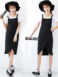Large size   Women's Character Black Dresses , Casual Straps Sleeveless