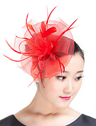 Lady  Mesh Feather Flowers Fascinators Hat Derby Hat Red/ Black/Beige
