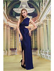 Formal Evening Dress - Dark Navy Sheath/Column One Shoulder Floor-length Knit