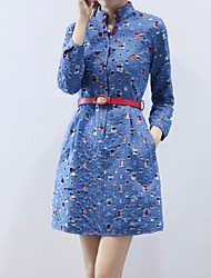 Women's Plus Size Casual/Work Stand Long Sleeve Splicing Patchwork Blue Jean Dress