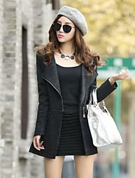 Women's Cute Coat,Color Block Round Neck Long Sleeve Fall Black / Gray Wool / Others Medium